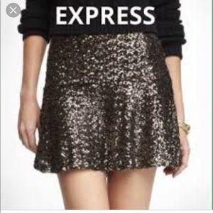 Gold sequin skirt from express